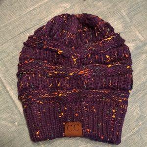 Purple Messy Bun/Ponytail C.C Beanie